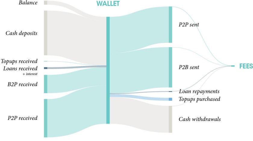Mobile money wallet flows